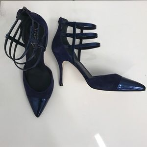 Blue Suede & Patent Leather Caged Heels | 8.5 NEW